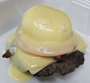 Eggs Benny Breakfast Bacon Cheeseburger